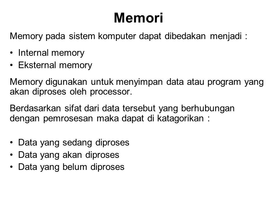 Memori Memory pada sistem komputer dapat dibedakan menjadi :