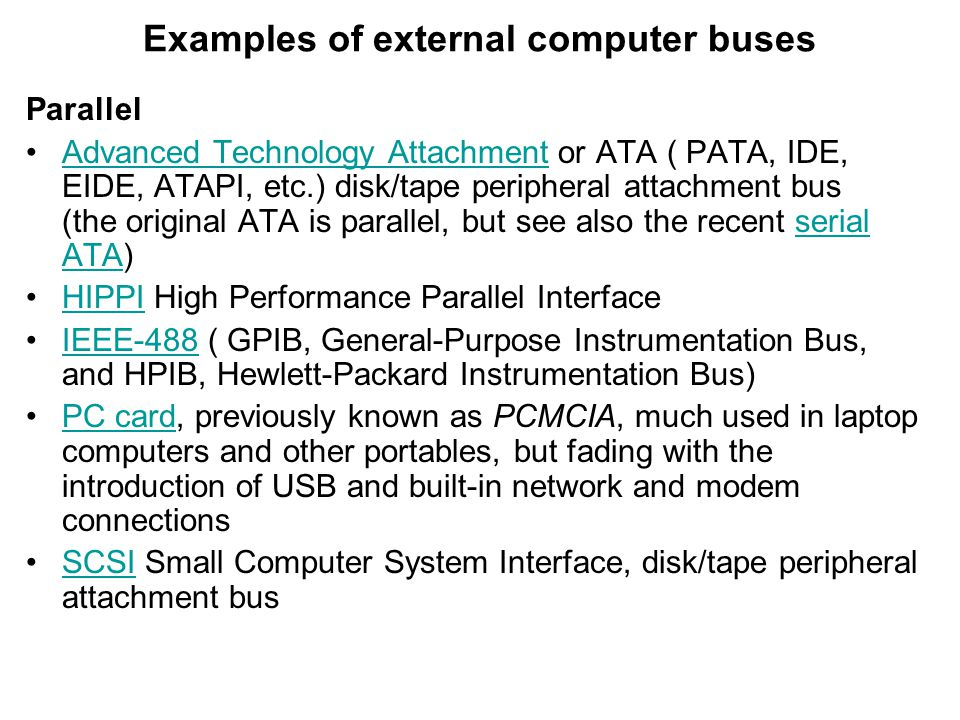 Examples of external computer buses