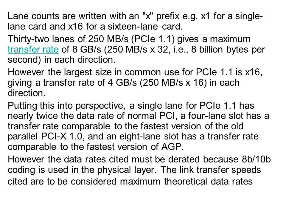Lane counts are written with an x prefix e. g