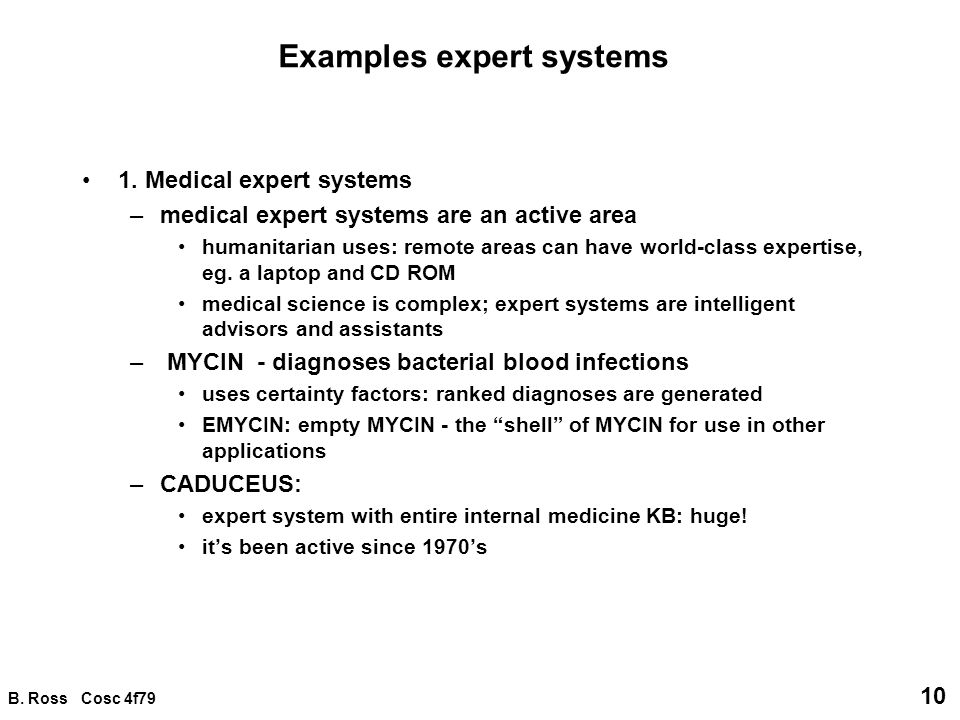 Examples expert systems