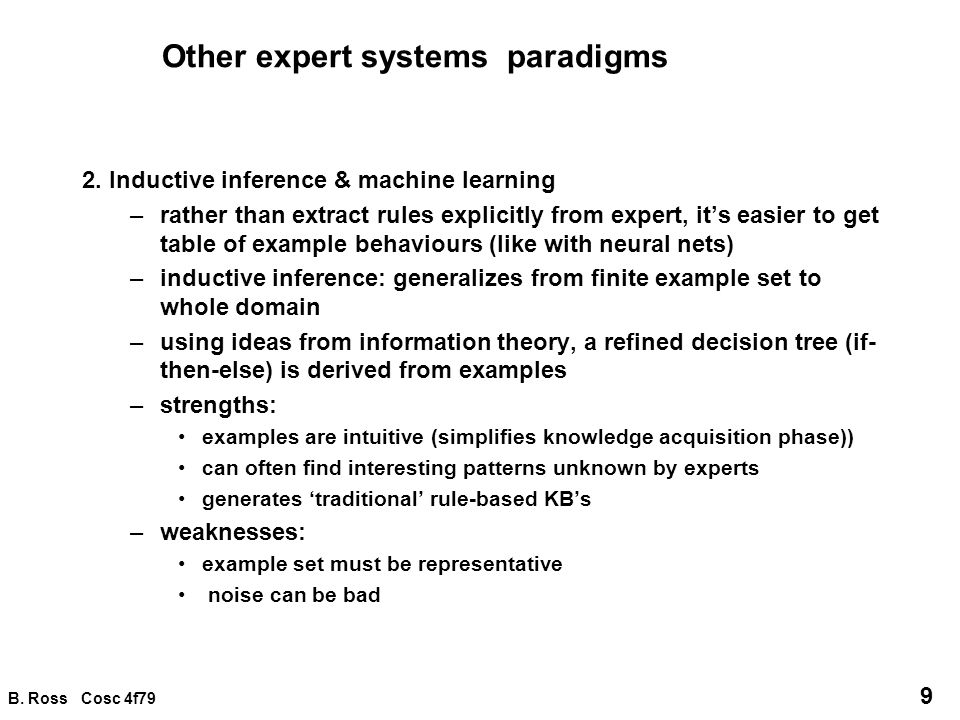 Other expert systems paradigms