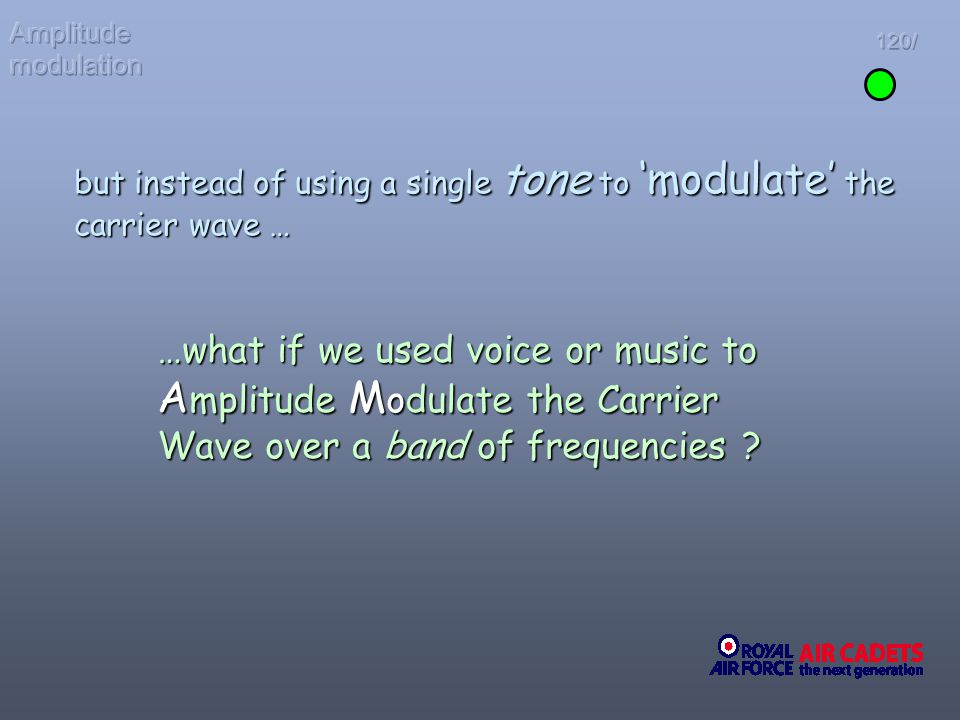 Amplitude modulation 120/ but instead of using a single tone to 'modulate' the carrier wave …