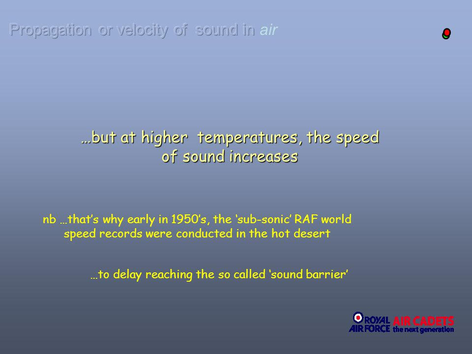 Propagation or velocity of sound in air