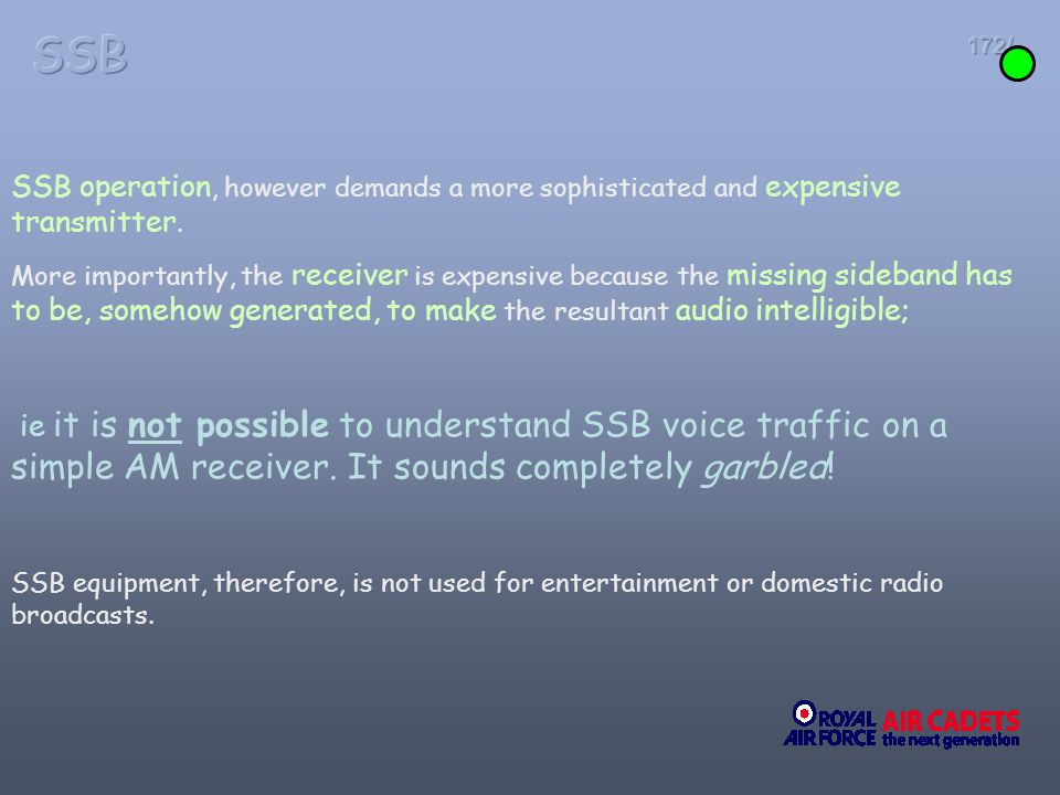 SSB 172/ SSB operation, however demands a more sophisticated and expensive transmitter.