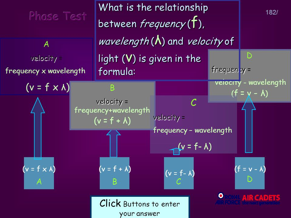 What is the relationship between frequency (f), wavelength (λ) and velocity of light (v) is given in the formula: