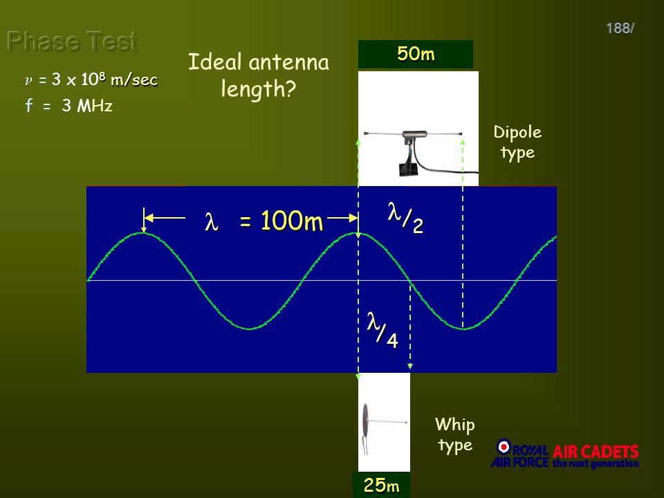    f  1   2 Phase Test   = 100m 3 x 108 3 x 106 