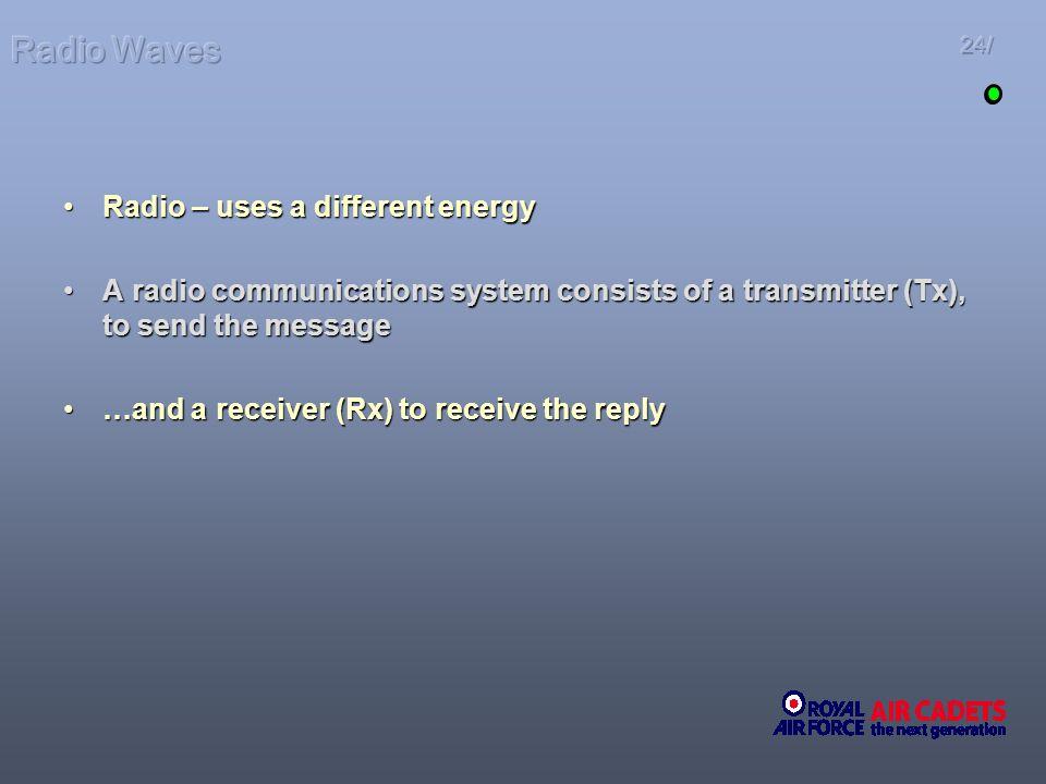 Radio Waves Radio – uses a different energy