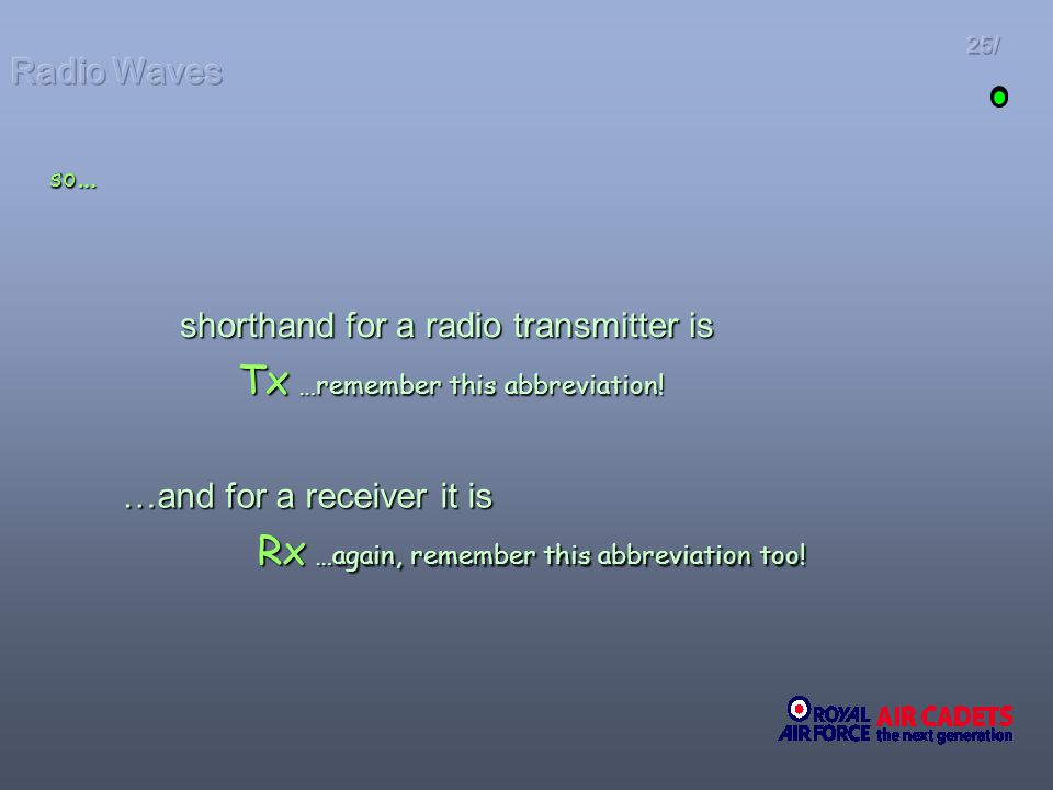 shorthand for a radio transmitter is