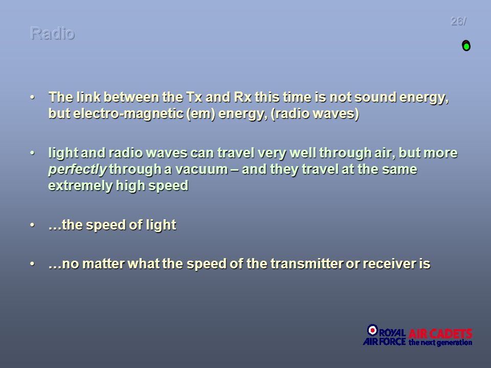 Radio 26/ The link between the Tx and Rx this time is not sound energy, but electro-magnetic (em) energy, (radio waves)