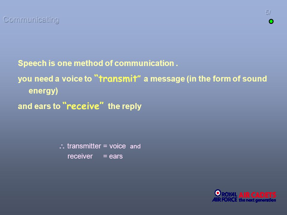  transmitter = voice and