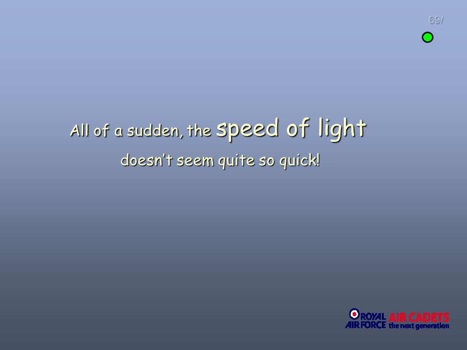 All of a sudden, the speed of light doesn't seem quite so quick!
