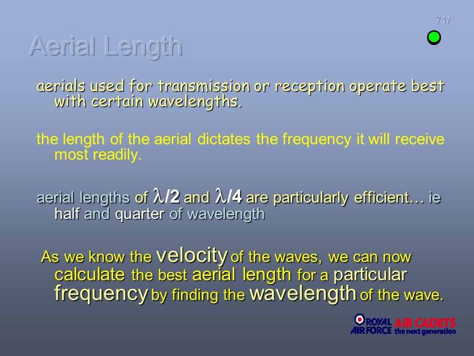 Aerial Length 71/ aerials used for transmission or reception operate best with certain wavelengths.