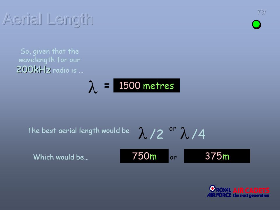   /2  /4 Aerial Length = 1500 metres 750m 375m
