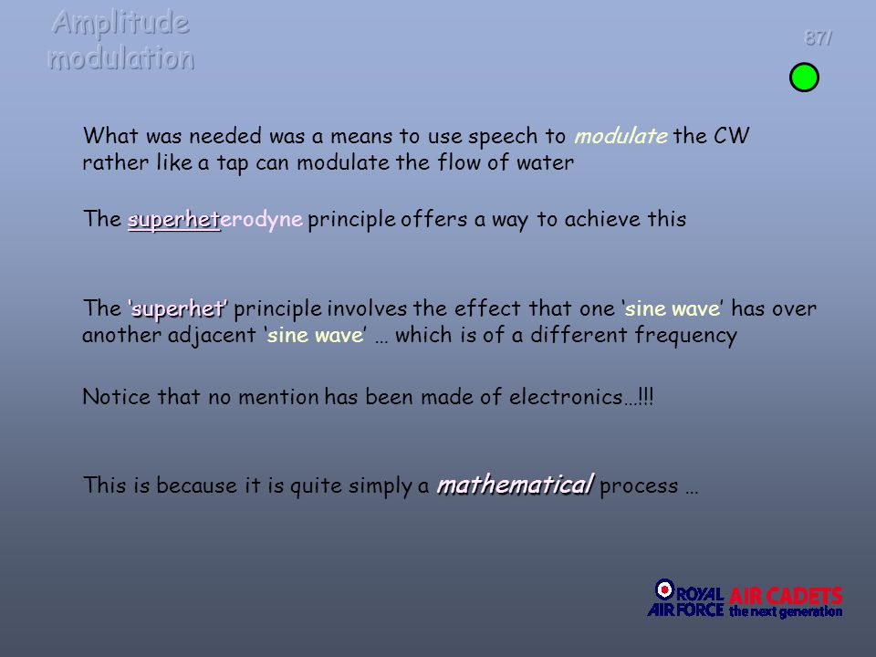Amplitude modulation 87/ What was needed was a means to use speech to modulate the CW rather like a tap can modulate the flow of water.