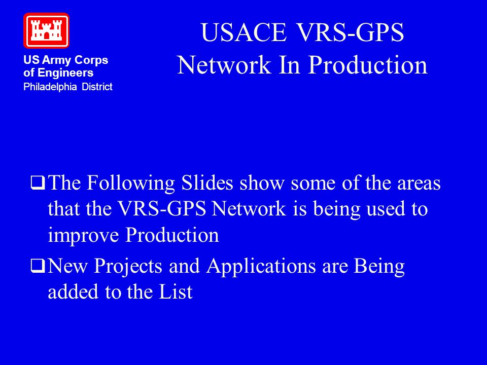 USACE VRS-GPS Network In Production