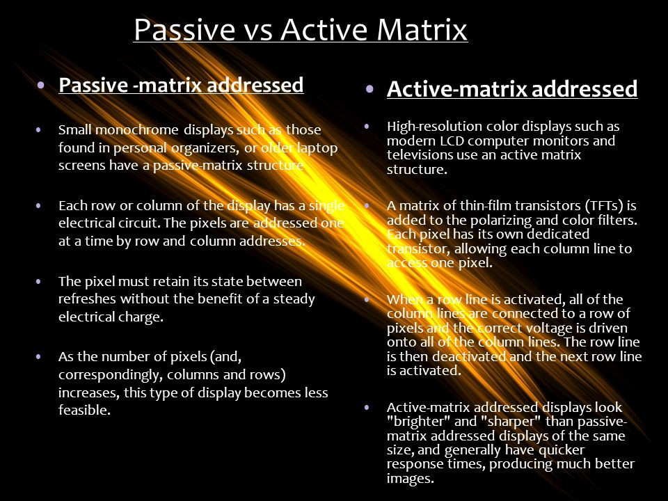 Passive vs Active Matrix