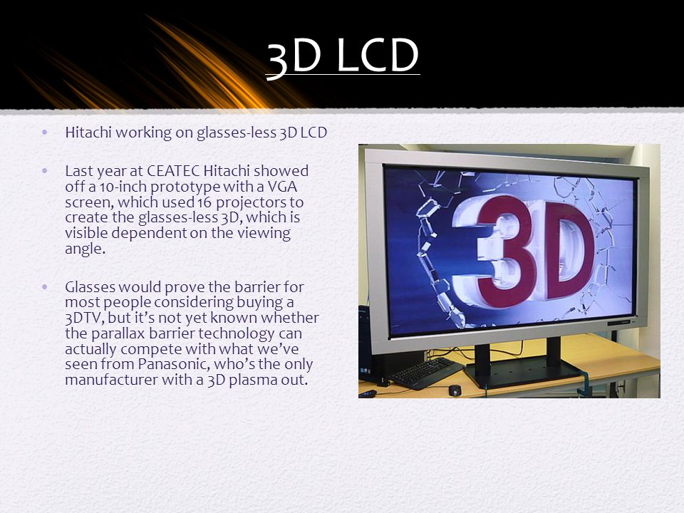 3D LCD Hitachi working on glasses-less 3D LCD