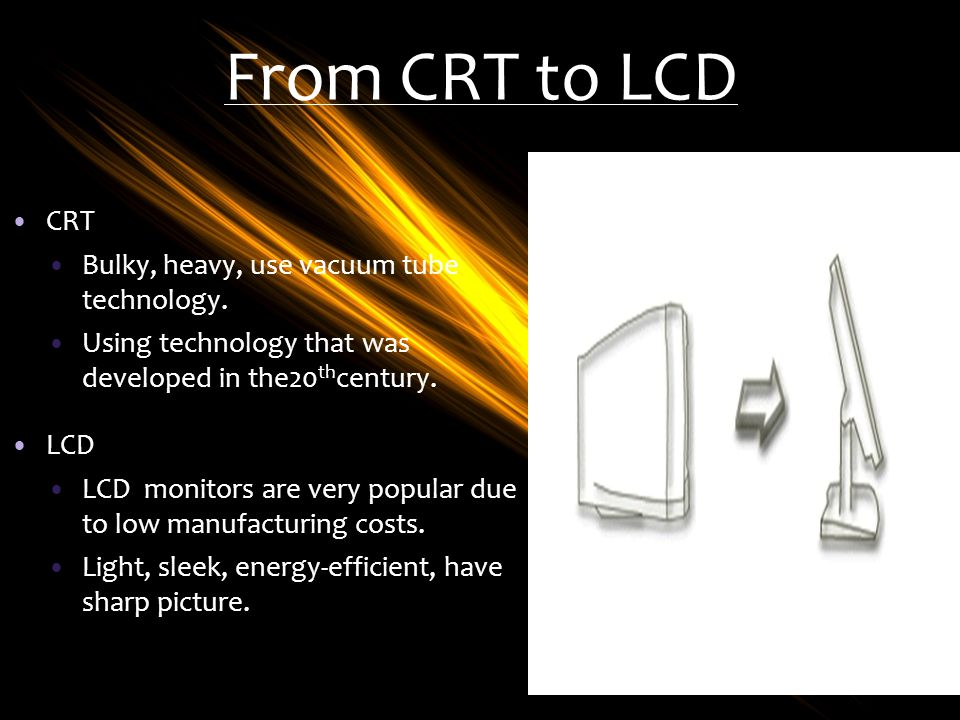 From CRT to LCD CRT Bulky, heavy, use vacuum tube technology.