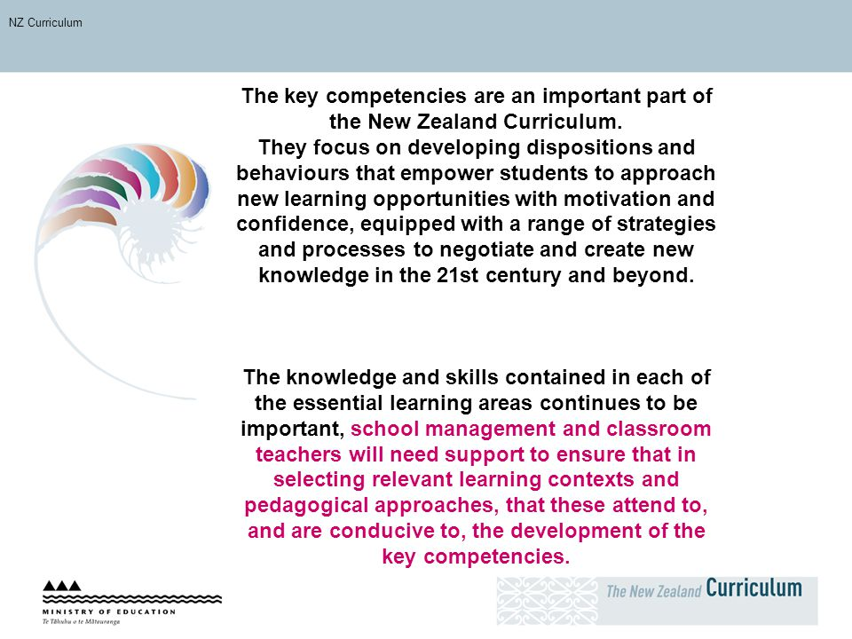 NZ Curriculum The key competencies are an important part of the New Zealand Curriculum.