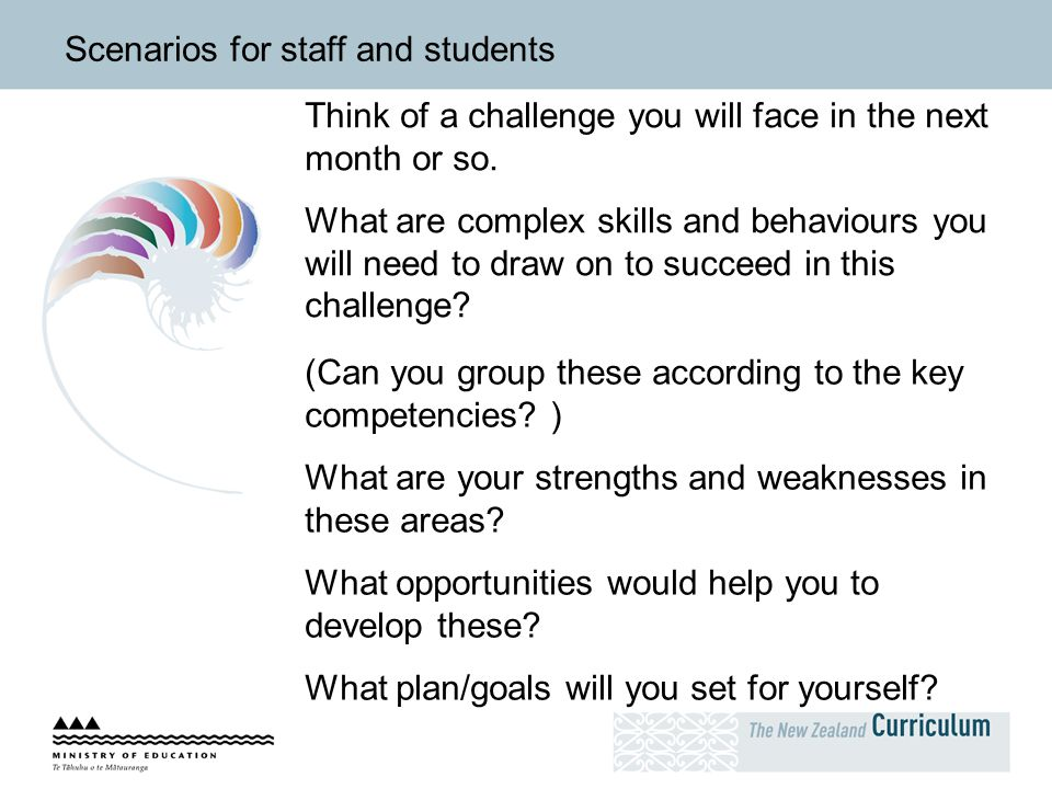 Scenarios for staff and students