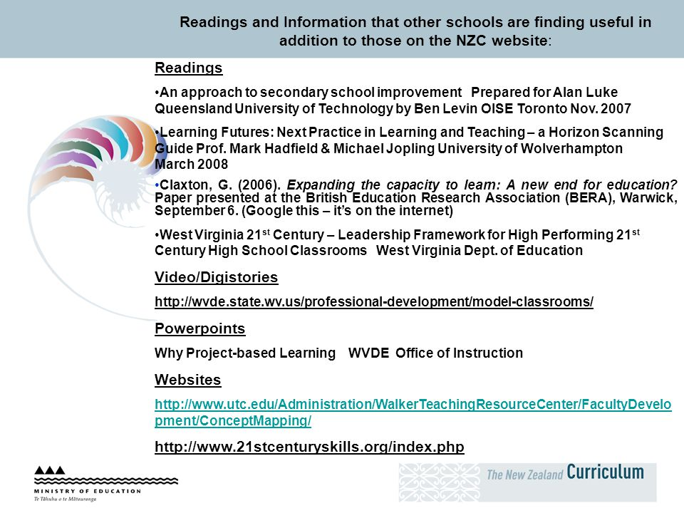 Readings and Information that other schools are finding useful in addition to those on the NZC website:
