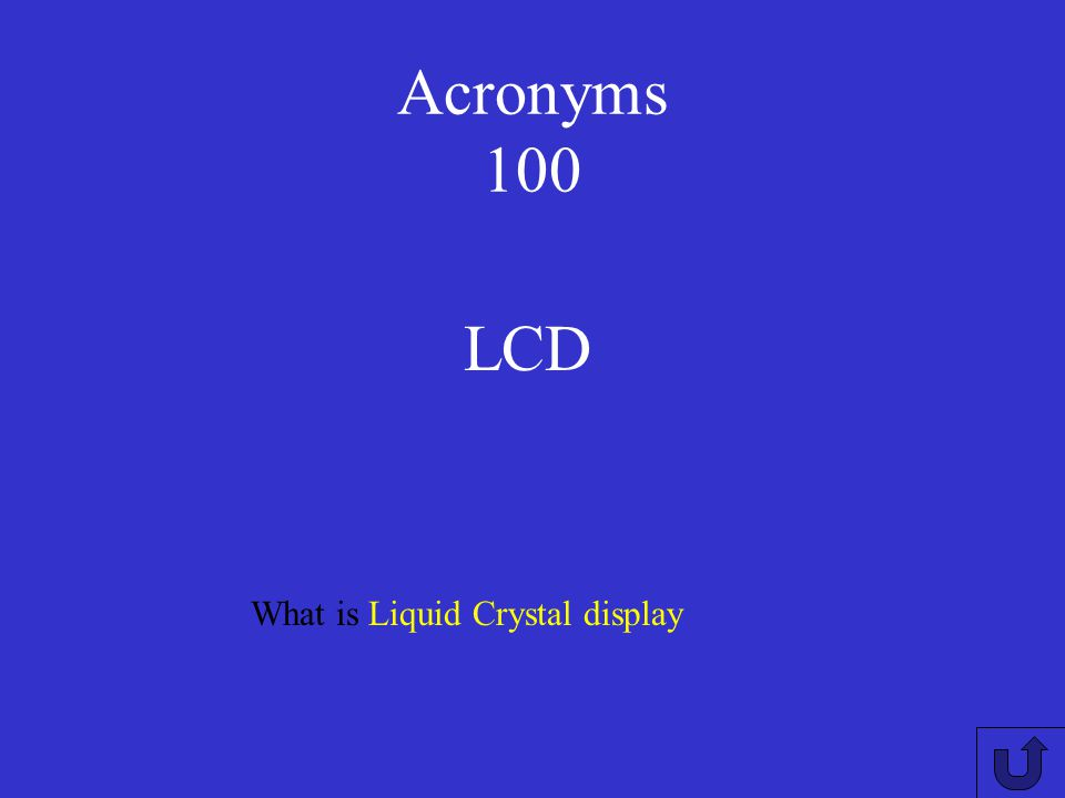 Acronyms 100 LCD What is Liquid Crystal display