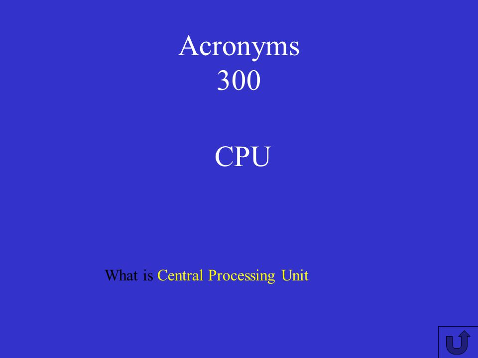 Acronyms 300 CPU What is Central Processing Unit