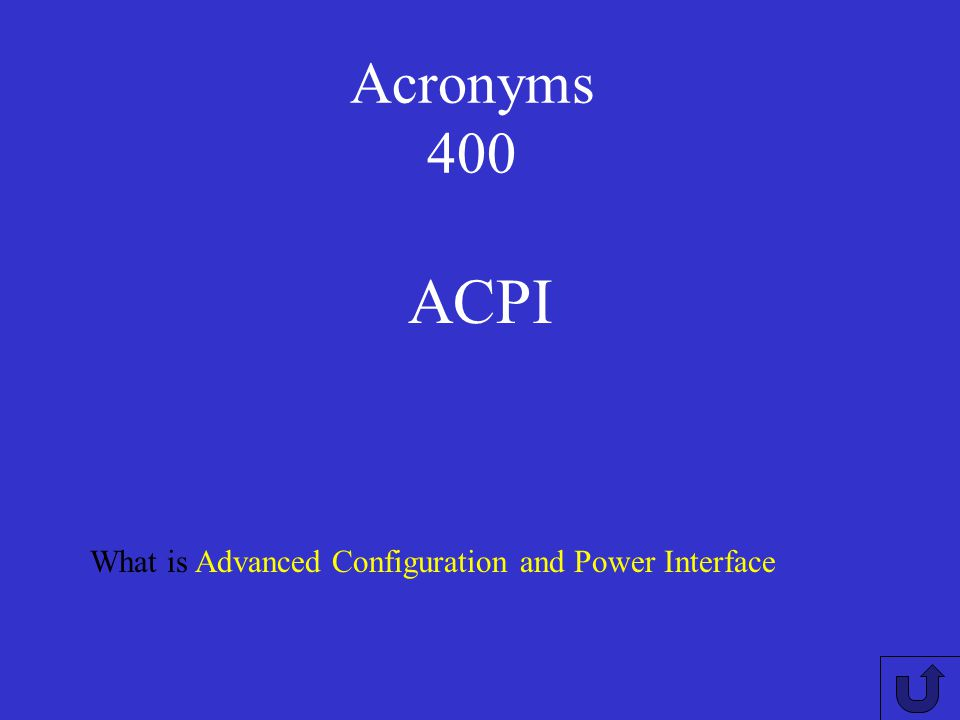 Acronyms 400 ACPI What is Advanced Configuration and Power Interface