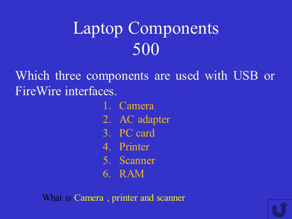 Laptop Components 500 Which three components are used with USB or FireWire interfaces. Camera. AC adapter.