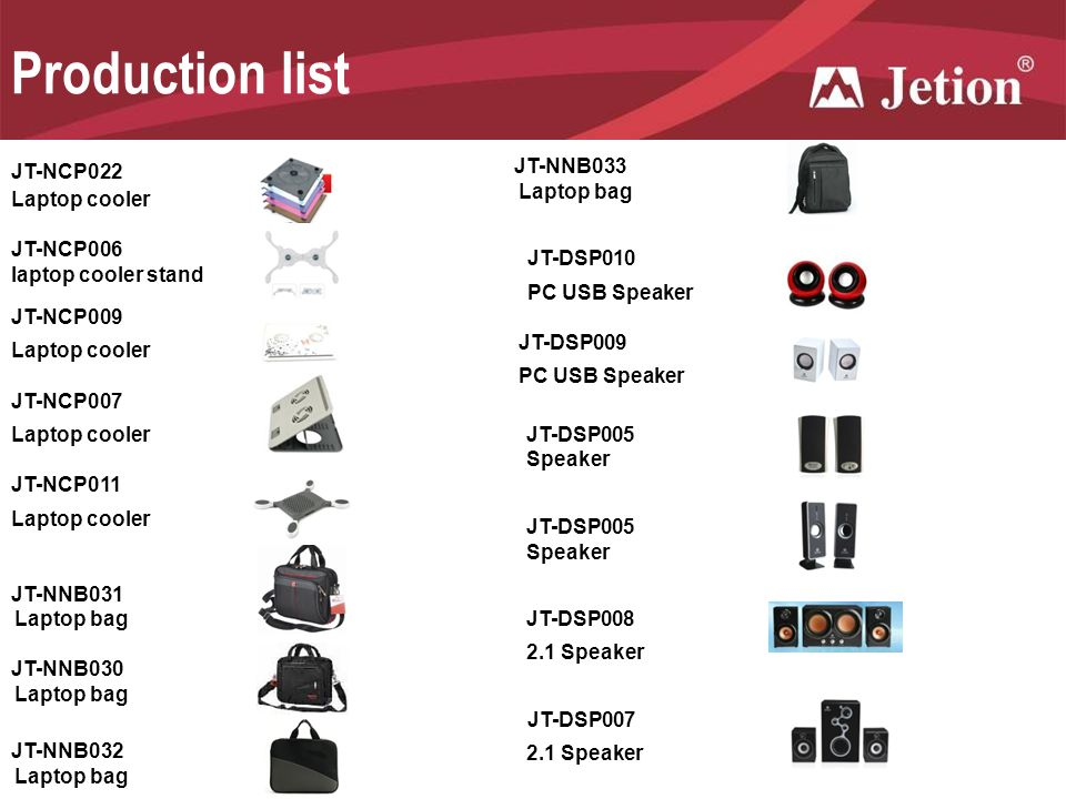 Production list JT-NCP022 JT-NNB033 Laptop bag Laptop cooler JT-NCP006