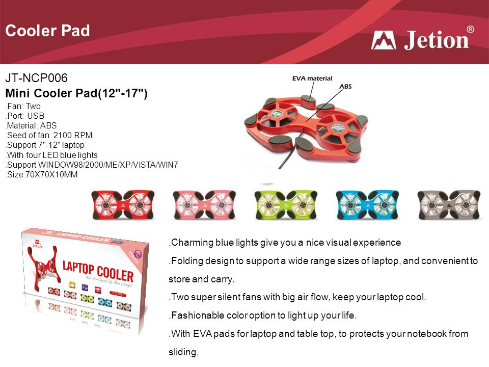 Cooler Pad JT-NCP006 Mini Cooler Pad(12 -17 )