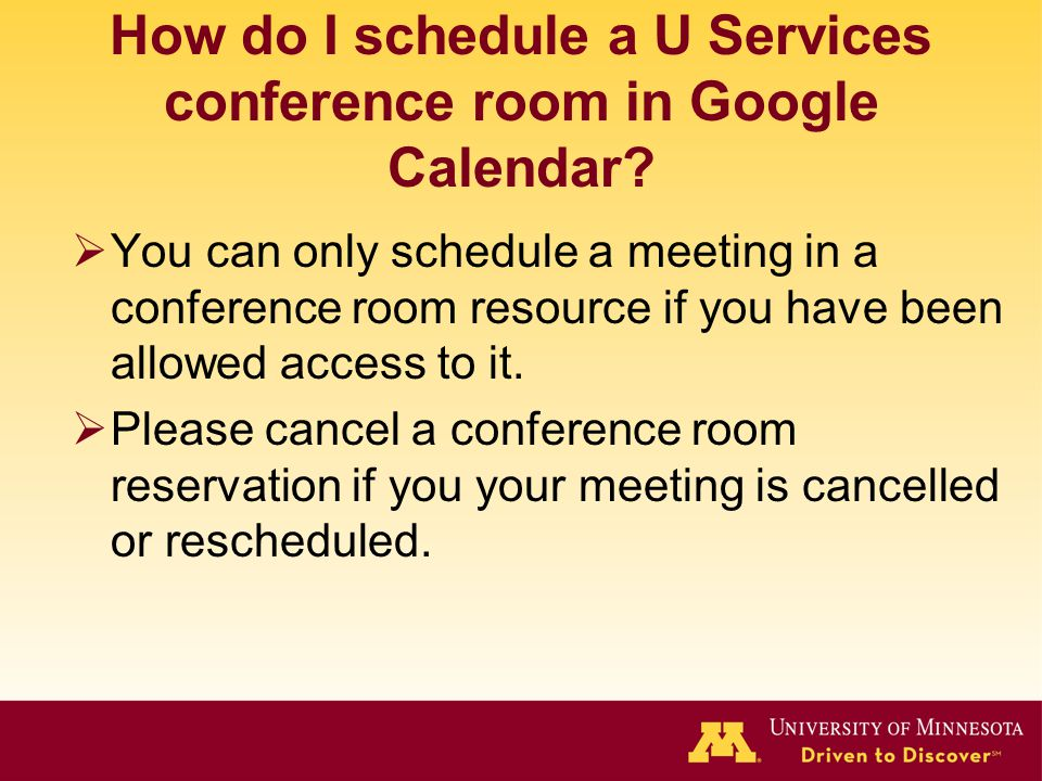 How do I schedule a U Services conference room in Google Calendar