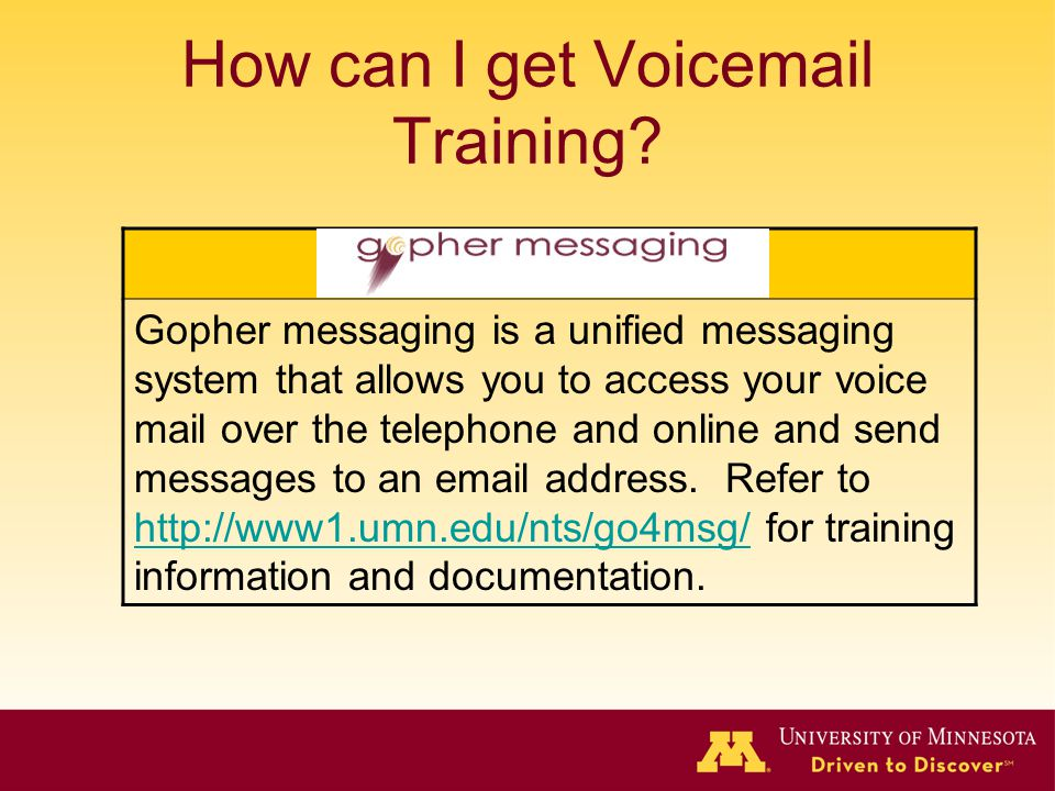 How can I get Voicemail Training