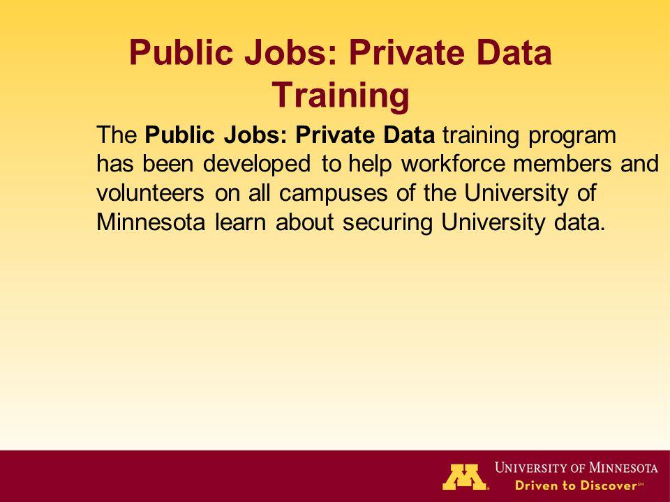 Public Jobs: Private Data Training