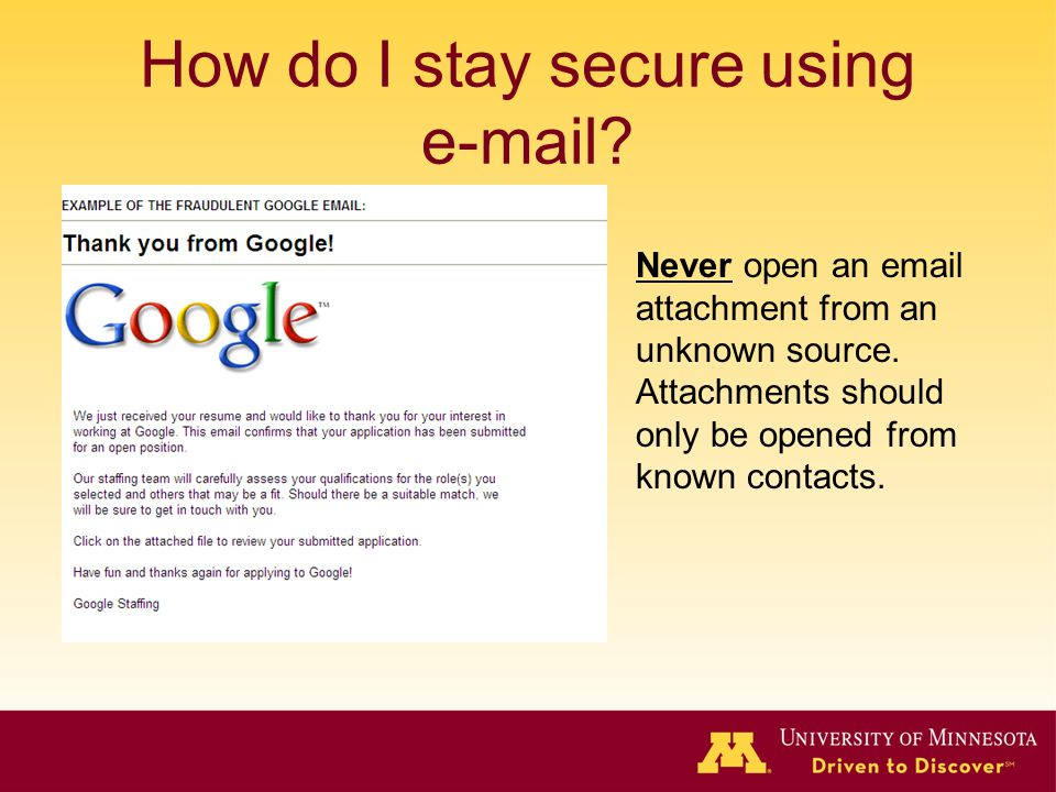 How do I stay secure using e-mail