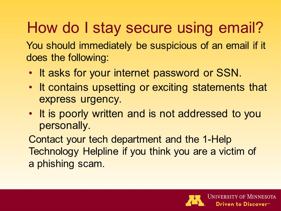 How do I stay secure using email