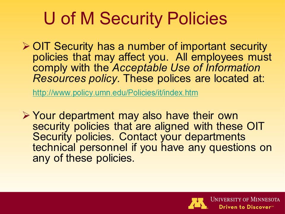 U of M Security Policies