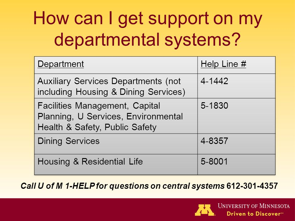 How can I get support on my departmental systems