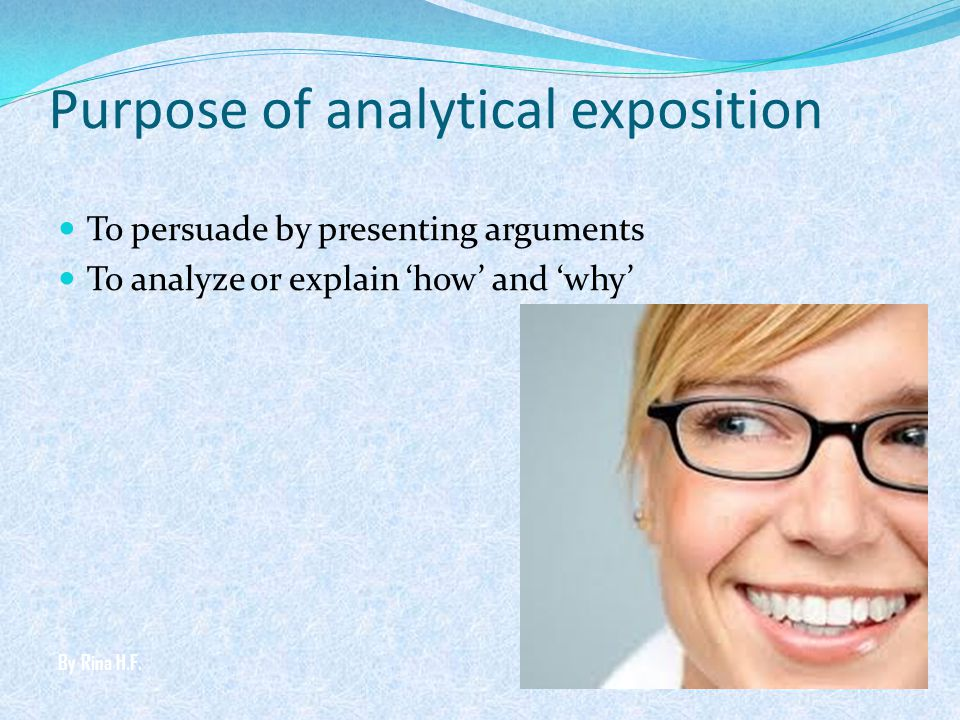 Purpose of analytical exposition