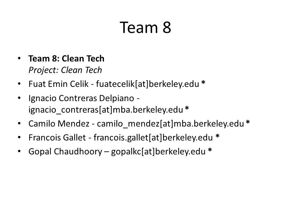 Team 8 Team 8: Clean Tech Project: Clean Tech