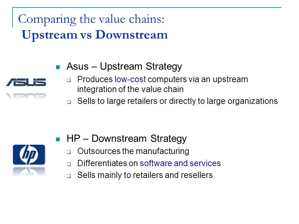 Comparing the value chains: Upstream vs Downstream