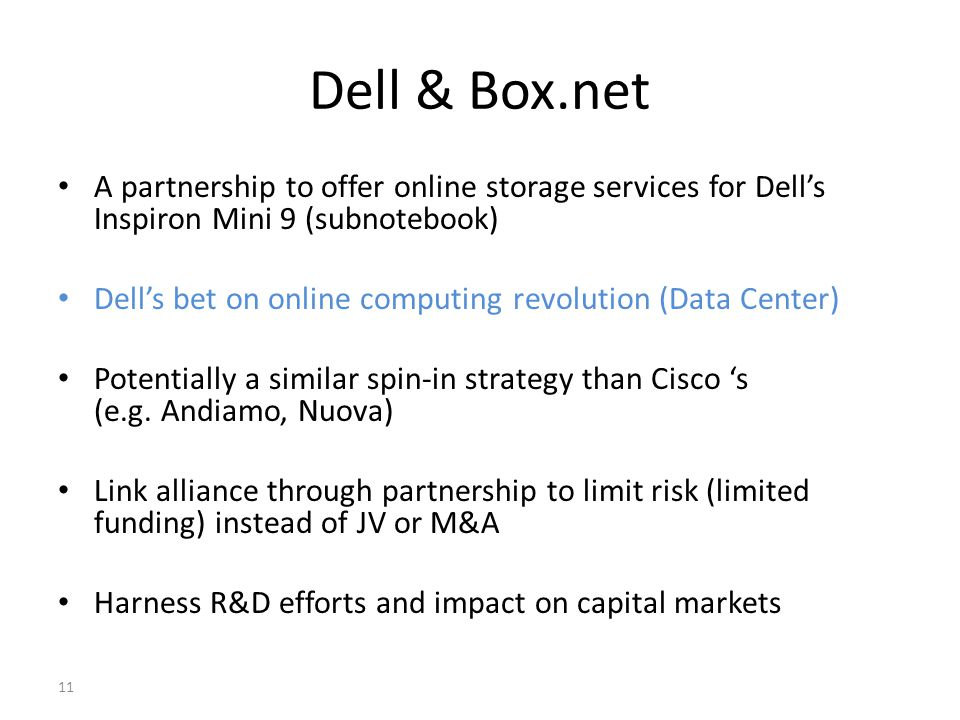 Dell & Box.net A partnership to offer online storage services for Dell's Inspiron Mini 9 (subnotebook)