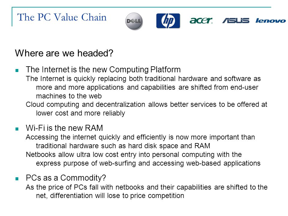 The PC Value Chain Where are we headed
