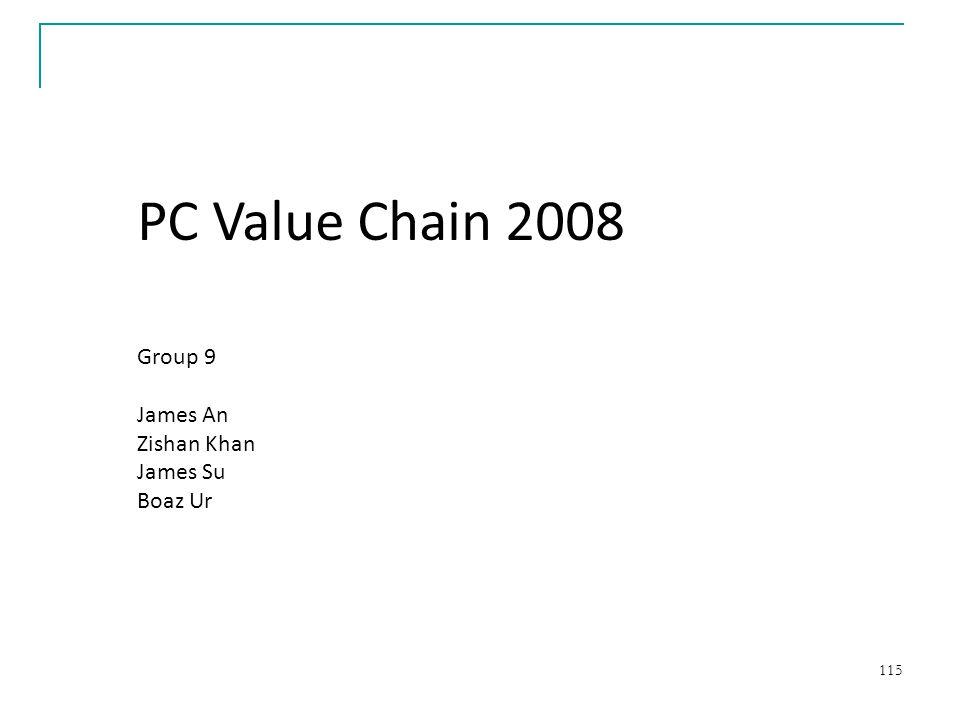PC Value Chain 2008 Group 9 James An Zishan Khan James Su Boaz Ur