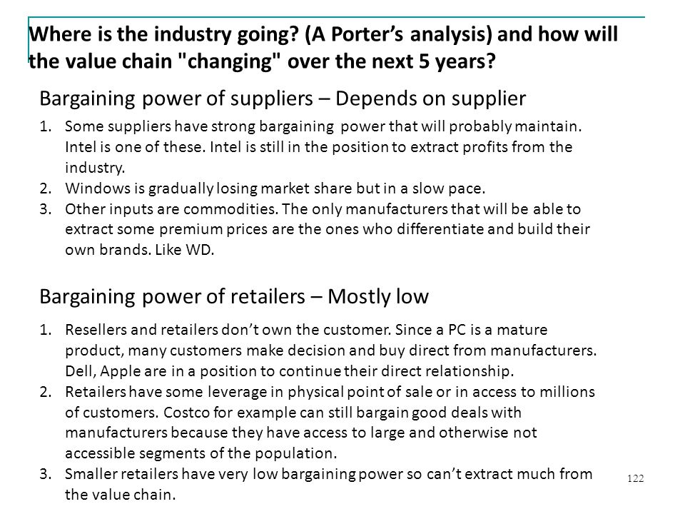 Bargaining power of suppliers – Depends on supplier
