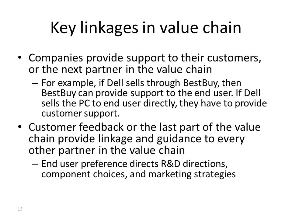 Key linkages in value chain