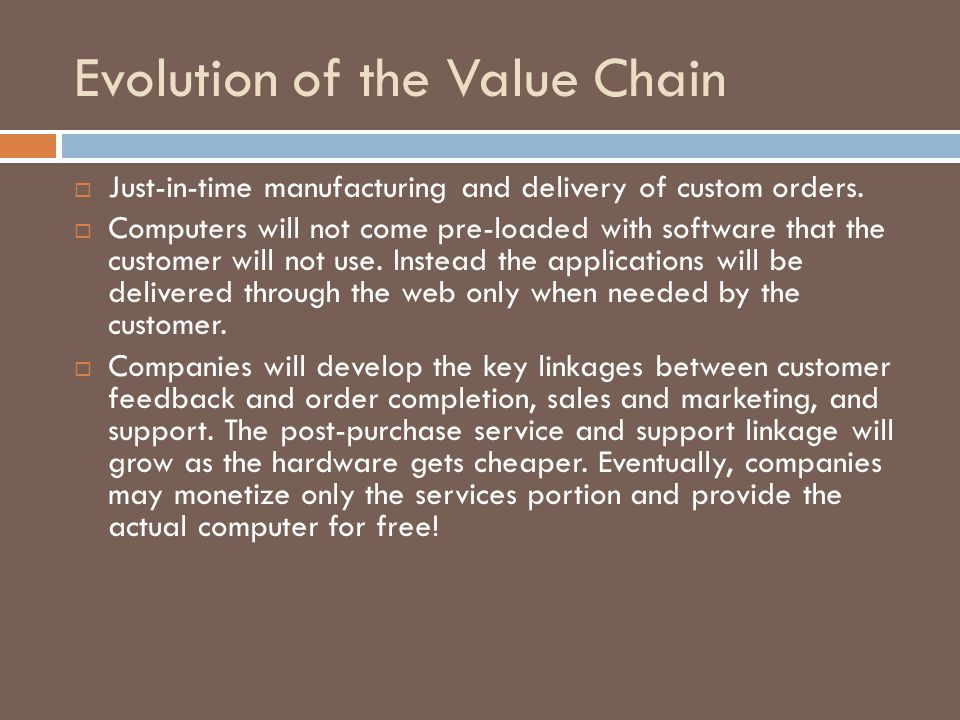 Evolution of the Value Chain