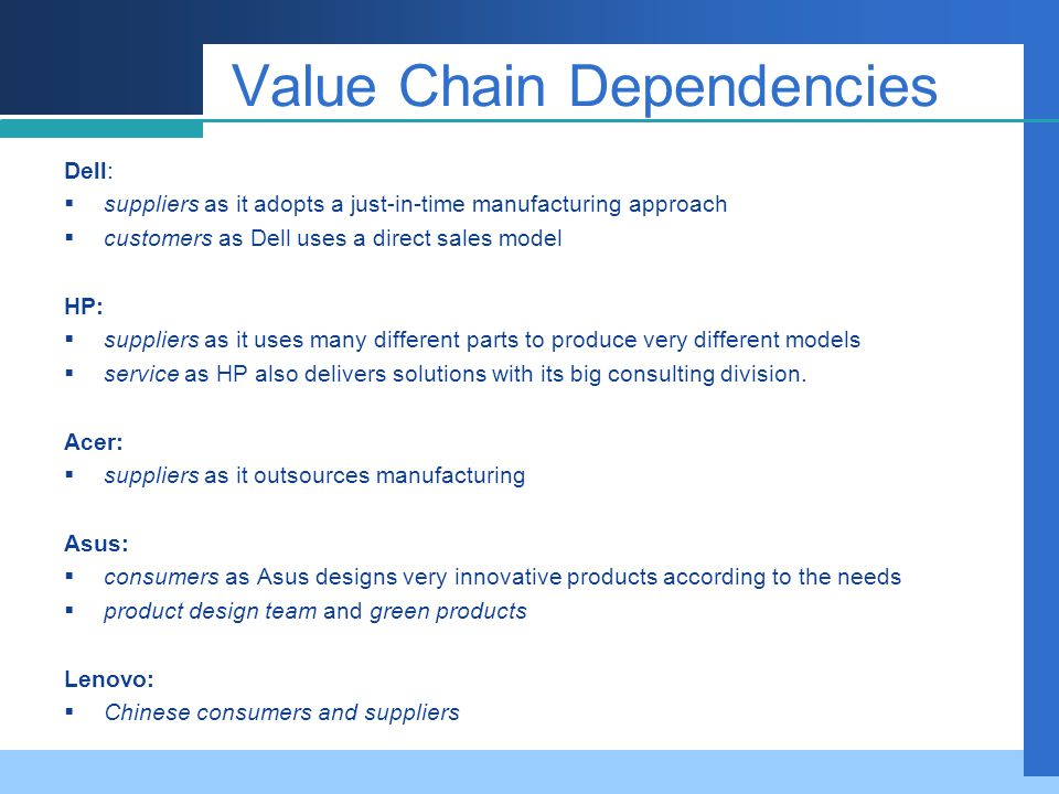 Value Chain Dependencies