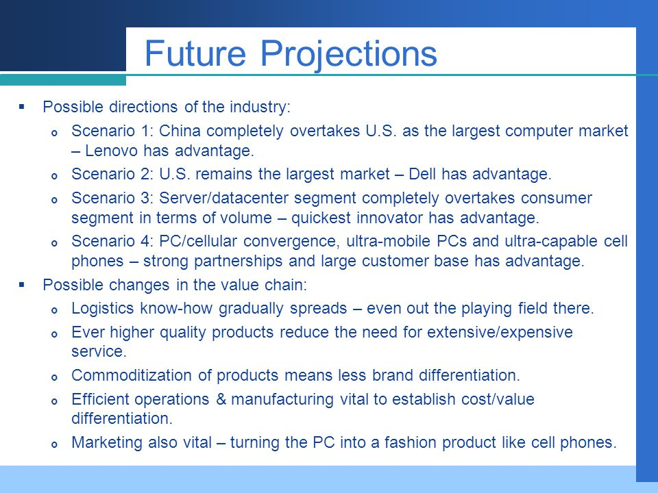 Future Projections Possible directions of the industry: