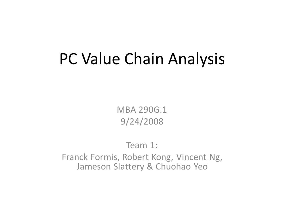 PC Value Chain Analysis